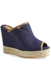 Sandales compensées en toile bleu marine