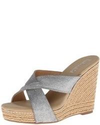 Sandales compensées en toile grises