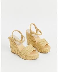 Sandales compensées en toile marron clair Mango