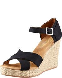 Sandales compensées en toile noires