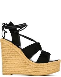 Sandales compensées en toile noires Saint Laurent