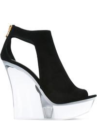 Sandales compensées noires Balmain