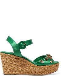 Sandales compensées ornées vertes Dolce & Gabbana