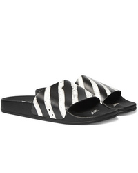 Sandales en caoutchouc à rayures horizontales blanches et noires Off-White
