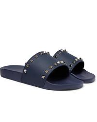 Sandales en caoutchouc bleu marine Valentino