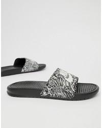 Sandales en caoutchouc imprimées noires Nike