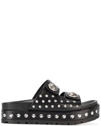 Sandales en cuir à clous noires Alexander McQueen