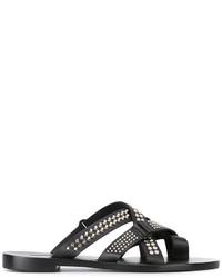 Sandales en cuir à clous noires Dsquared2