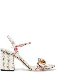 Sandales en cuir à fleurs blanches Gucci