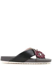 Sandales en cuir à fleurs noires Fendi
