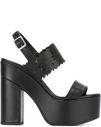 Sandales en cuir à fleurs noires Twin-Set
