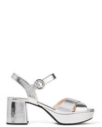 Sandales en cuir argentées Prada