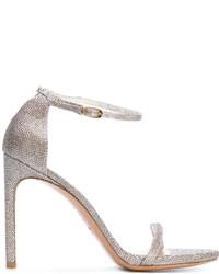 Sandales en cuir argentées Stuart Weitzman