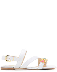 Sandales en cuir blanches Moschino