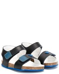 Sandales en cuir bleu canard Armani Junior