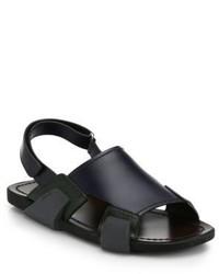 Sandales en cuir bleu marine