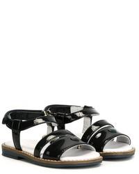Sandales en cuir bleu marine Armani Junior