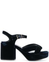 Sandales en cuir bleu marine Jil Sander