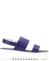 Sandales en cuir bleu marine P.A.R.O.S.H.