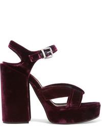 Sandales en cuir bordeaux Jil Sander