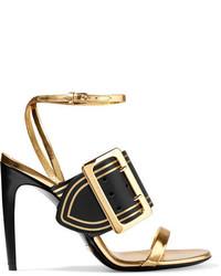 Sandales en cuir dorées Burberry