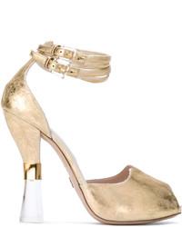 Sandales en cuir dorées Ermanno Scervino