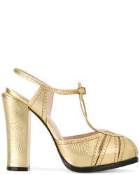 Sandales en cuir dorées Fendi