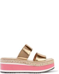 Sandales en cuir dorées Prada