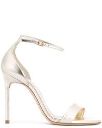 Sandales en cuir dorées Saint Laurent