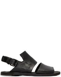 Sandales en cuir gris foncé Officine Creative