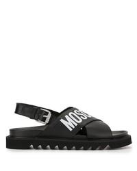 Sandales en cuir imprimées noires et blanches Moschino