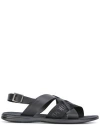 Sandales en cuir imprimées noires Emporio Armani