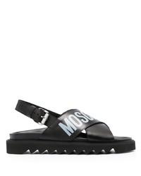 Sandales en cuir imprimées noires Moschino
