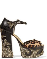 Sandales en cuir imprimées serpent noires Marc Jacobs