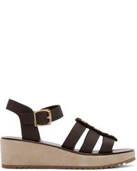 Sandales en cuir marron foncé A.P.C.