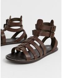 Sandales en cuir marron foncé ASOS DESIGN