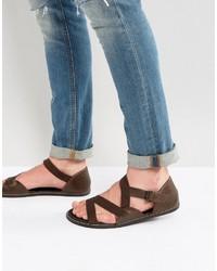 Sandales en cuir marron foncé Asos