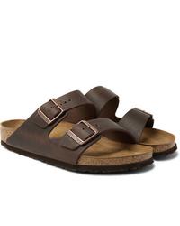 Sandales en cuir marron foncé Birkenstock