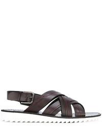 Sandales en cuir marron foncé Dolce & Gabbana