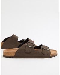 Sandales en cuir marron foncé Dunlop