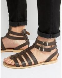Sandales en cuir marron foncé Frank Wright