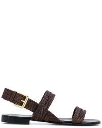 Sandales en cuir marron foncé Giuseppe Zanotti Design
