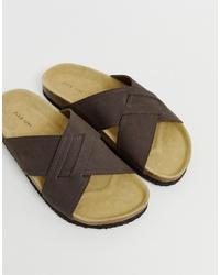 Sandales en cuir marron foncé Pier One