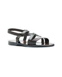 Sandales en cuir marron foncé Silvano Sassetti