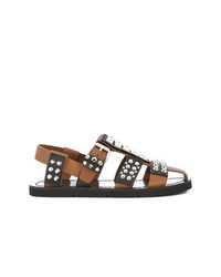 Sandales en cuir marron Prada