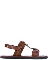 Sandales en cuir marron Saint Laurent