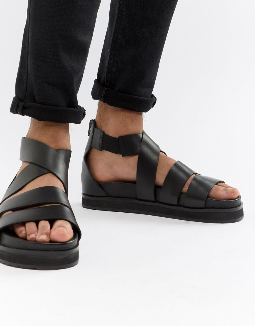 Sandales en cuir noires ASOS DESIGN