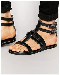 Sandales en cuir noires Asos
