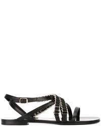 Sandales en cuir noires Balmain