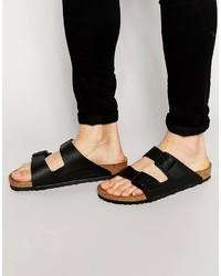 Sandales en cuir noires Birkenstock